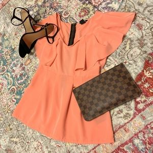 Beautiful Coral Fluttery Shoulder Blouse!